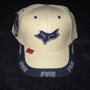 NWT, FOX racing baseball hat, tan and navy blue